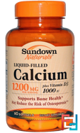 Liquid-Filled Calcium, Plus Vitamin D3, 1200 mg/1000 IU, Sundown Naturals, 60 Softgels
