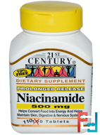 Niacinamide, 21st Century, 500 mg, 110 Tablets