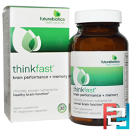 ThinkFast, Brain Performance + Memory, FutureBiotics, 60 Veggie Caps