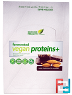 Fermented Vegan Proteins +, Dark Chocolate Almond, Genuine Health Corporation, 12 Protein Bars, 1.94 oz (55 g) Each