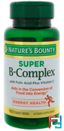 Super B-Complex with Folic Acid Plus Vitamin C, Nature's Bounty, 150 Coated Tablets