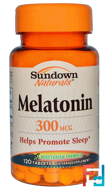 Melatonin, Sundown Naturals, 300 mcg, 120 Tablets