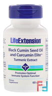 Black Cumin Seed Oil and Curcumin Elite Turmeric Extract, Life Extension, 60 Softgels