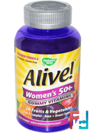 Alive! Women's 50+ Gummy Vitamins, Nature's Way, 75 Gummies