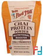 Chai Protein Powder, Nutritional Booster with Chia & Probiotics, Bob's Red Mill, 16 oz (453 g)