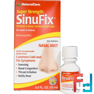 Super Strength SinuFix, Powerful Nasal Decongestant Mist, Natural Care, 0.5 fl oz (15 ml)