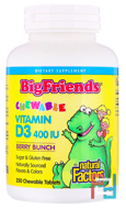 Big Friends, Chewable Vitamin D3, Berry Bunch, Natural Factors, 400 IU, 250 Chewable Tablets