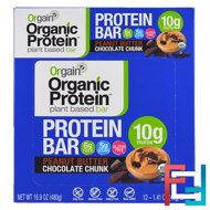 Organic Plant-Based Protein Bar, Peanut Butter Chocolate Chunk, Orgain, 12 Bars, 1.41 oz (40 g) Each