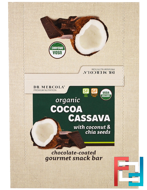 Organic Cocoa Cassava with Coconut & Chia Seeds, Dr. Mercola, 12 Bars, 1.55 oz (44 g) Each