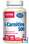 L-Carnitine, Jarrow Formulas, 500 mg, 100 licaps