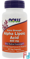 Alpha Lipoic Acid, Extra Strength, 600 mg, Now Foods, 60 Veg Capsules