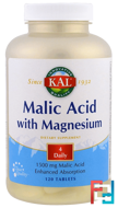 Malic Acid with Magnesium, KAL, 120 Tablets