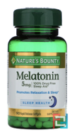 Melatonin, Nature's Bounty, 5 mg, 90 Rapid Release Softgels
