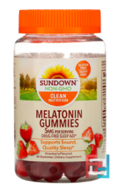 Melatonin Gummies, Delicious Strawberry Flavor, Sundown Naturals, 5 mg, 60 Gummies