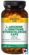 L-Arginine L-Ornithine Hydrochloride Caps, Country Life, 1000 mg, 180 Capsules