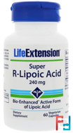 Super R-Lipoic Acid, 240 mg, Life Extension, 60 Vegetarian Capsules