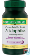 Chewable Probiotic Acidophilus with Lactis, Natural Strawberry Flavor, Nature's Bounty, 100 Chewable Wafers
