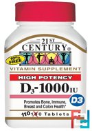Vitamin D3, High Potency, 21st Century, 1000 IU, 110 Tablets