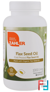 Organic Flax Seed Oil, Zahler, 1,000 mg, 90 Softgels