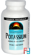 Potassium, 99 mg, Source Naturals, 250 Tablets