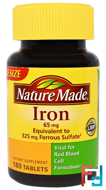Iron, Nature Made, 180 Tablets