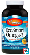 Norwegian EcoSmart Omega-3, Natural Lemon Flavor, Carlson Labs, 500 mg, 180 Softgels
