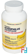 Chewable Acidophilus and Bifidum, Natural Banana Flavor, American Health, 100 Wafers