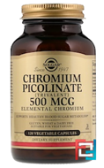 Chromium Picolinate, Solgar, 500 mcg, 120 Vegetable Capsules