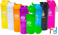 Shaker (Шейкер), 2 в 1, Slim, SmartShake, 400 ml - Neon Yellow