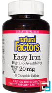 Easy Iron, Natural Factors, 20 mg, 60 Chewable Tablets