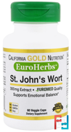 St. John's Wort Extract, EuroHerbs, California Gold Nutrition, CGN, 300 mg,  60 Veggie Caps