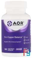 Classic Series, Zinc-Copper Balance, Advanced Orthomolecular Research AOR, 100 Veggie Caps