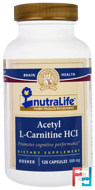 Acetyl L-Carnitine HCI, NutraLife, 500 mg, 120 Capsules