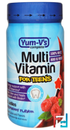 Multi Vitamin for Teens, Raspberry Flavor, Yum-V's, 60 Jellies