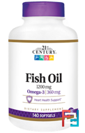 Fish Oil, Omega-3, Maximum Strength, 21st Century, 1200 mg, 140 Softgels