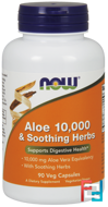 Now Foods, Aloe 10,000 & Soothing Herbs, 90 Veggie Caps
