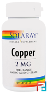 Copper, Solaray, 2 mg, 100 Capsules