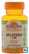 Melatonin, Sundown Naturals, 5 mg, 90 Tablets