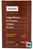 Protein Bars, Peanut Butter Chocolate, RXBAR, 12 Bars, 1.83 oz (52 g) Each