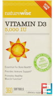 Vitamin D3, 5000 IU, NatureWise, 360 Softgels