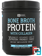 Bone Broth Protein with Collagen, Vanilla Flavor, Sports Research, 17.7 oz ( 502 g)