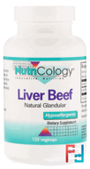 Liver Beef, Nutricology, Natural Glandular, 125 veg capsules
