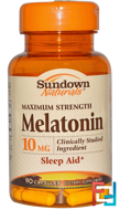 Maximum Strength Melatonin, Sundown Naturals, 10 mg, 90 Capsules