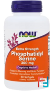 Extra Strength Phosphatidyl Serine, Now Foods, 300 mg, 50 Softgels