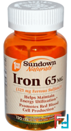 Iron, 65 mg, Sundown Naturals, 120 Tablets