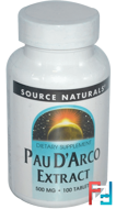 Pau D'Arco Extract, Source Naturals, 500 mg, 100 Tablets
