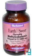EarthSweet, Methylcobalamin, Vitamin B-12, Natural Raspberry Flavor, 5000 mcg, Bluebonnet Nutrition, 60 Chewable Tablets