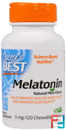 Melatonin, Natural Mint Flavor, Doctor's Best, 5 mg, 120 Chewable Tablets