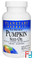 Full Spectrum, Pumpkin Seed Oil, Planetary Herbals, 1000 mg, 90 Softgels