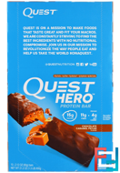 Hero Protein Bar, Chocolate Caramel Pecan, Quest Nutrition, 10 Bars, 2.12 oz (60 g) Each